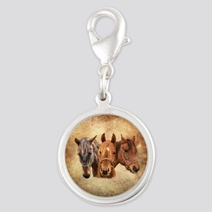 Horse Silver Round Charm