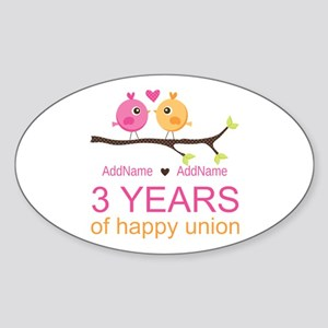 3rd Year Anniversary Personalized Sticker (Oval)