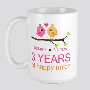 3rd Year Anniversary Personalized Large Mug