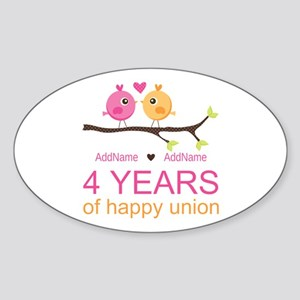 4th Year Anniversary Personalized Sticker (Oval)