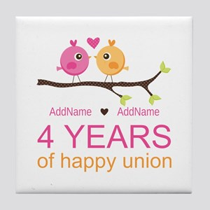 4th Year Anniversary Personalized Tile Coaster
