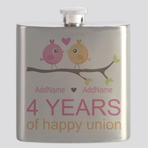 4th Year Anniversary Personalized Flask