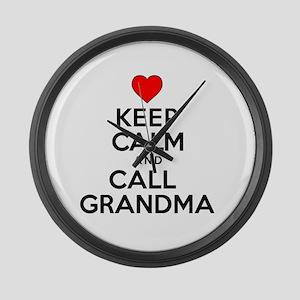 Keep Calm Call Grandma Large Wall Clock