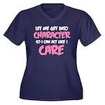 Like I Care Women's Plus Size V-Neck Dark T-Shirt