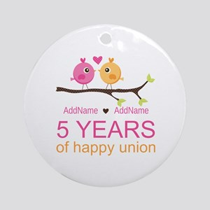 5th Anniversary Personalized Ornament (Round)