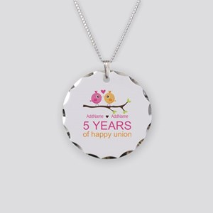 5th Anniversary Personalized Necklace Circle Charm