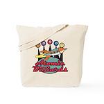Retro Atomic Billiards Pool Hall Sign Tote Bag