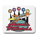 Retro Atomic Billiards Pool Hall Sign Mousepad