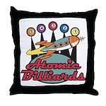 Retro Atomic Billiards Pool Hall Sign Throw Pillow