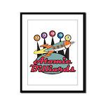 Retro Atomic Billiards Pool Hall Sign Framed Panel