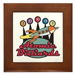 Retro Atomic Billiards Pool Hall Sign Framed Tile