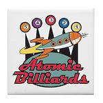 Retro Atomic Billiards Pool Hall Sign Tile Coaster