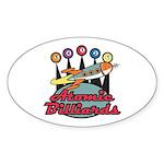 Retro Atomic Billiards Pool Hall Sign Sticker (Ova