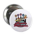 Retro Atomic Billiards Pool Hall Sign Button