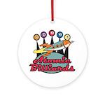 Retro Atomic Billiards Pool Hall Sign Ornament (Ro