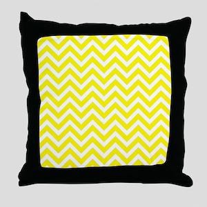 yellow and white chevrons  Throw Pillow