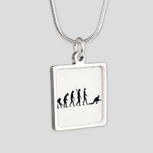 Curling evolution Silver Square Necklace