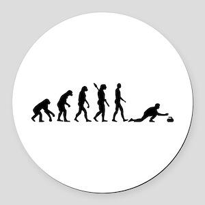 Curling evolution Round Car Magnet