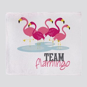 Team Flamingo Throw Blanket