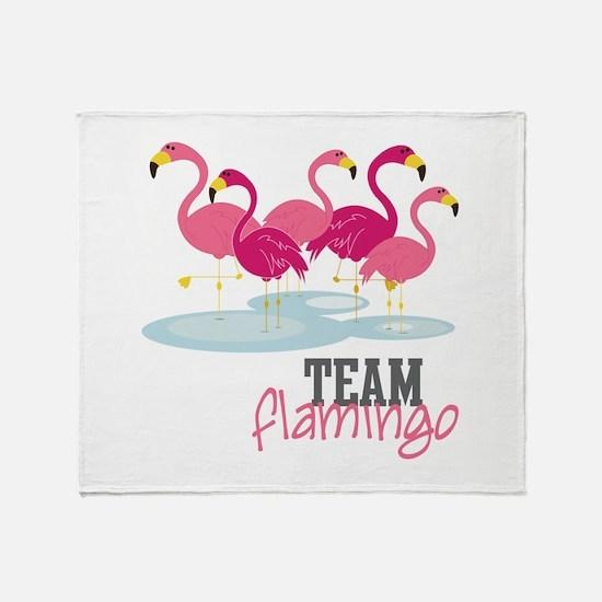Team Flamingo Throw Blanket