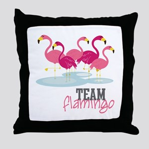 Team Flamingo Throw Pillow