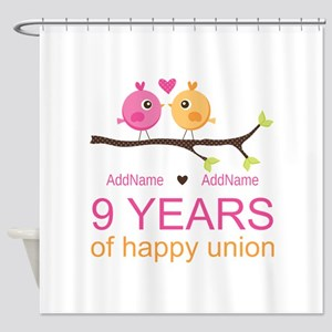 9th Wedding Anniversary Personalize Shower Curtain