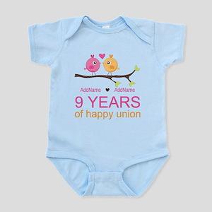 9th Wedding Anniversary Personaliz Infant Bodysuit