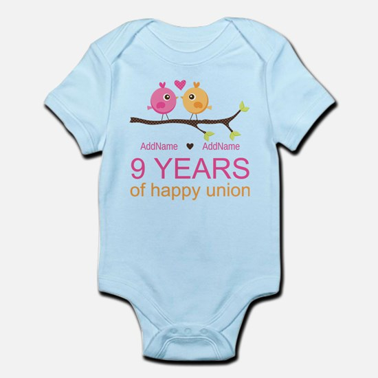 9th Wedding Anniversary Personaliz Infant Bodysuit