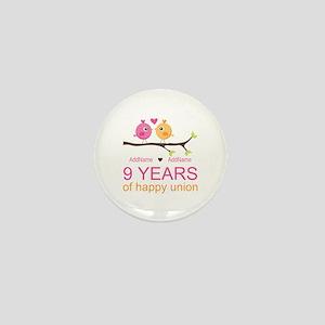 9th Wedding Anniversary Personalized Mini Button