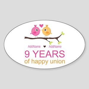 9th Wedding Anniversary Personalize Sticker (Oval)