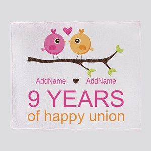9th Wedding Anniversary Personalized Throw Blanket