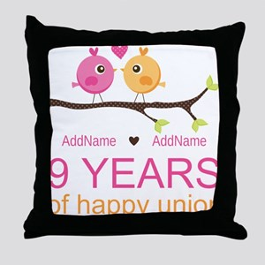 9th Wedding Anniversary Personalized Throw Pillow