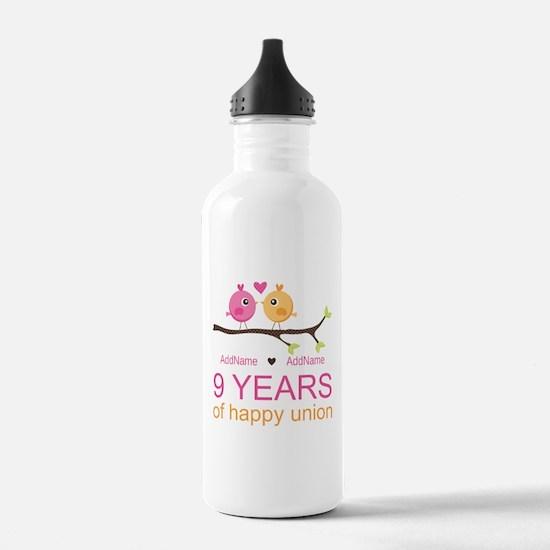 9th Wedding Anniversar Water Bottle