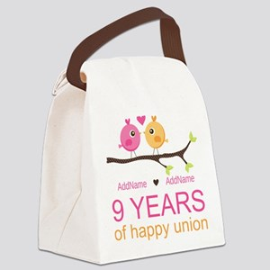 9th Wedding Anniversary Personali Canvas Lunch Bag