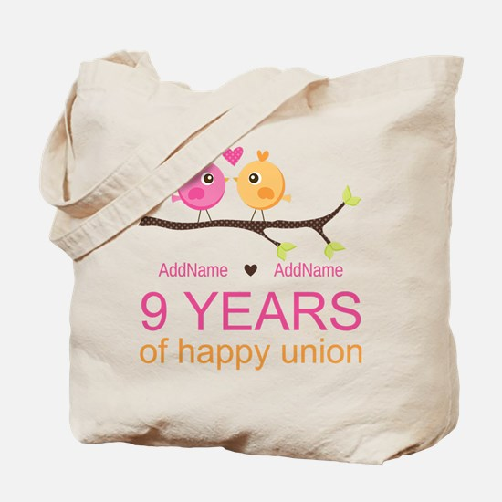 9th Wedding Anniversary Personalized Tote Bag