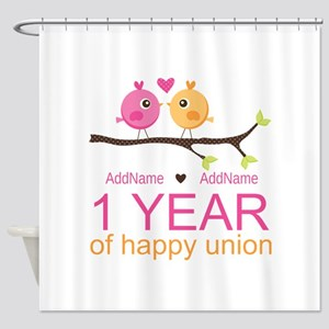 1st Anniversary Personalized Shower Curtain