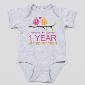 1st Anniversary Personalized Baby Bodysuit