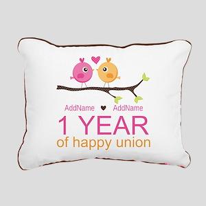 1st Anniversary Personal Rectangular Canvas Pillow