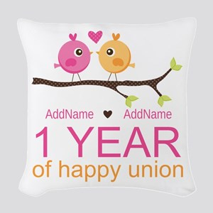1st Anniversary Personalized Woven Throw Pillow