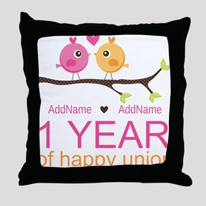 1st Anniversary Personalized Throw Pillow