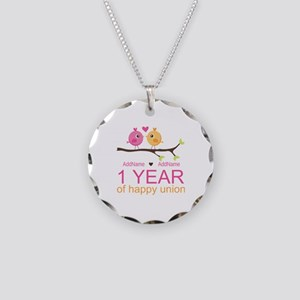 1st Anniversary Personalized Necklace Circle Charm