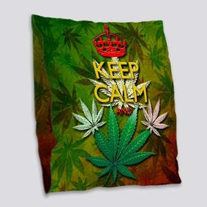 Keep Calm and Marijuana Leaf Burlap Throw Pillow
