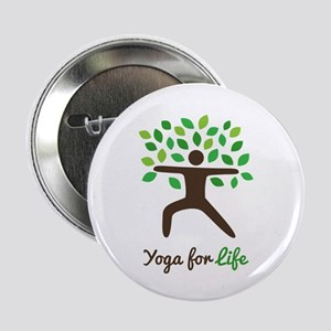 """Yoga For Life Warrior Pose Tree 2.25"""" Button"""