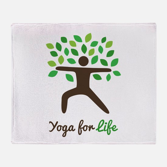 Yoga For Life Warrior Pose Tree Throw Blanket