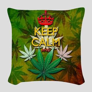 Keep Calm and Marijuana Leaf Woven Throw Pillow