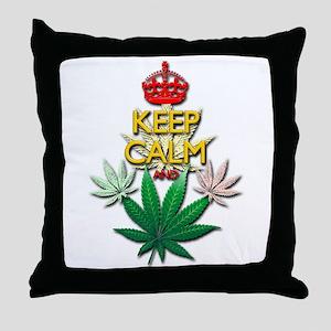 Keep Calm and Marijuana Leaf Throw Pillow