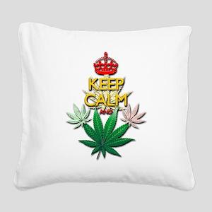 Keep Calm and Marijuana Leaf Square Canvas Pillow