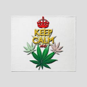 Keep Calm and Marijuana Leaf Throw Blanket