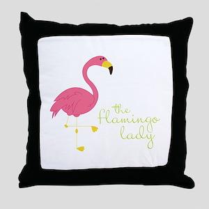 The Flamingo Lady Throw Pillow