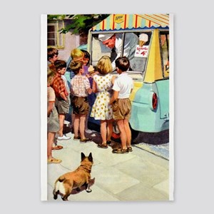 Ice Cream Truck, Vintage Poster 5'x7'area Rug